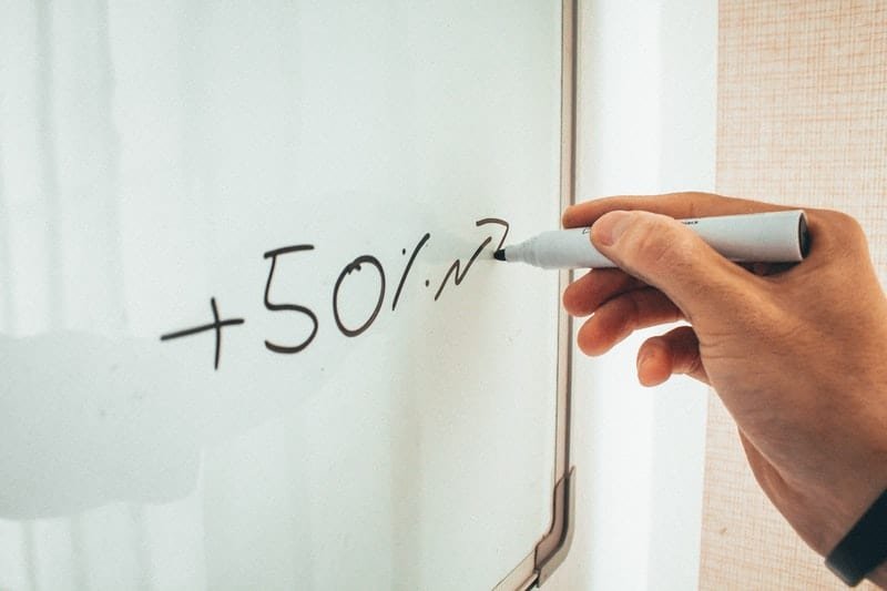 financial projection on whiteboard